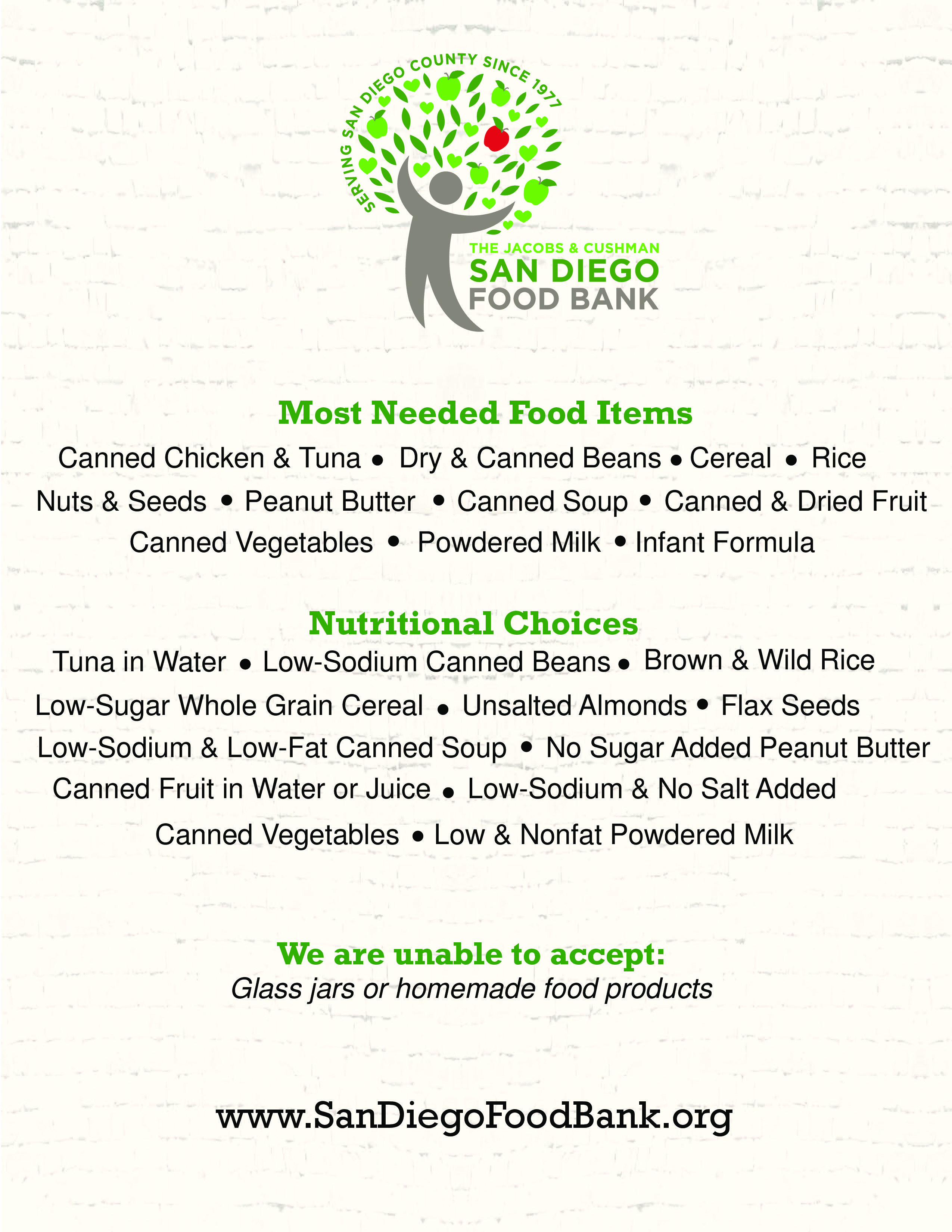Thanksgiving Food Drive List