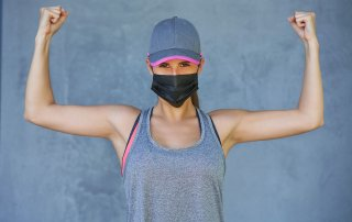 Woman Exercising in Mask
